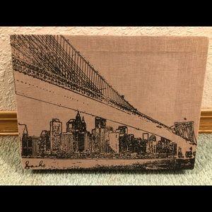 BROOKLYN BRIDGE NY SKYLINE Canvas Linen Art